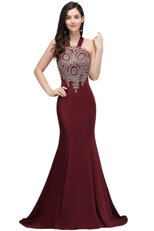 Mermaid Scalloped Floor-length Appliques Burgundy Prom Dresses with Beadings