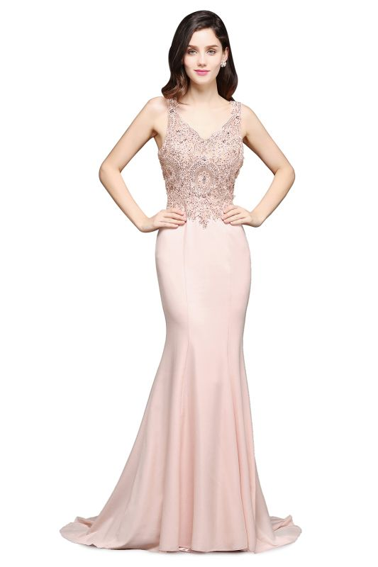ALLYSON | Mermaid V-Neck Pearl Pink Prom Dresses with Beads