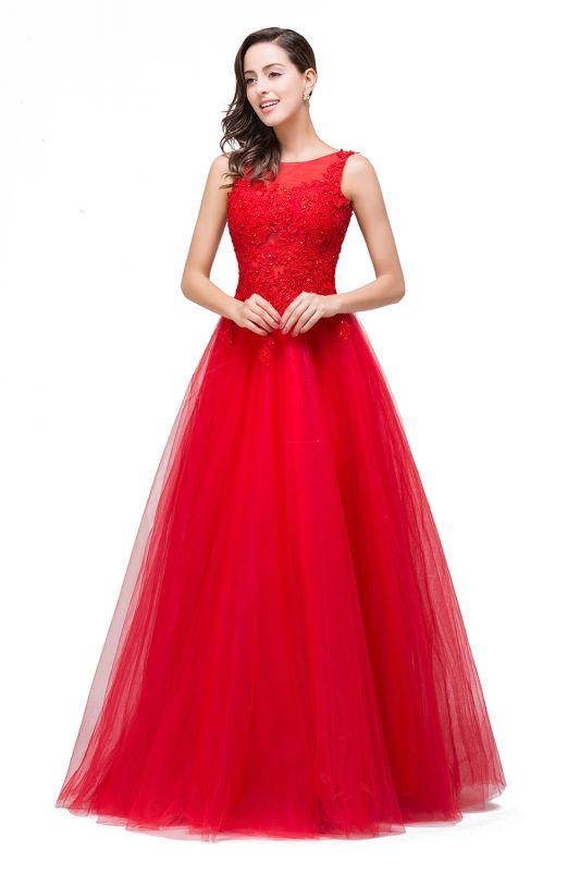 FIONA | A-Line Sleeveless Floor-Length Appliques Tulle Prom Dresses