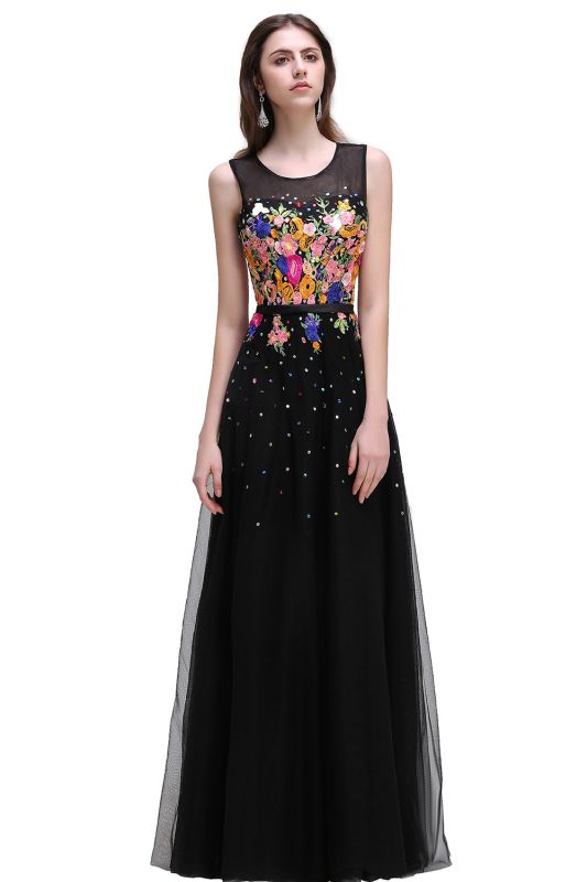 A-line Jewel Neck Tulle Black Prom Dresses with Embroidery Flowers