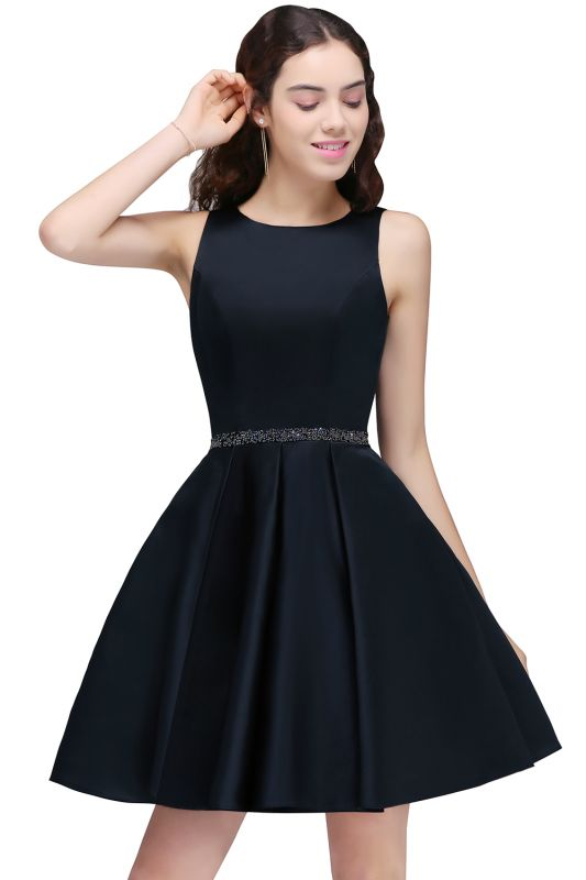 A-Line Round Neck Short Dark Navy Homecoming Dresses With Crystal