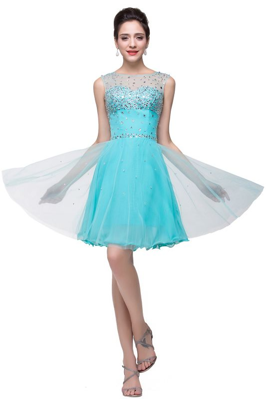 ELIN | A-line Sleeveless Crew Short Tulle Prom Dresses with Crystal Beads