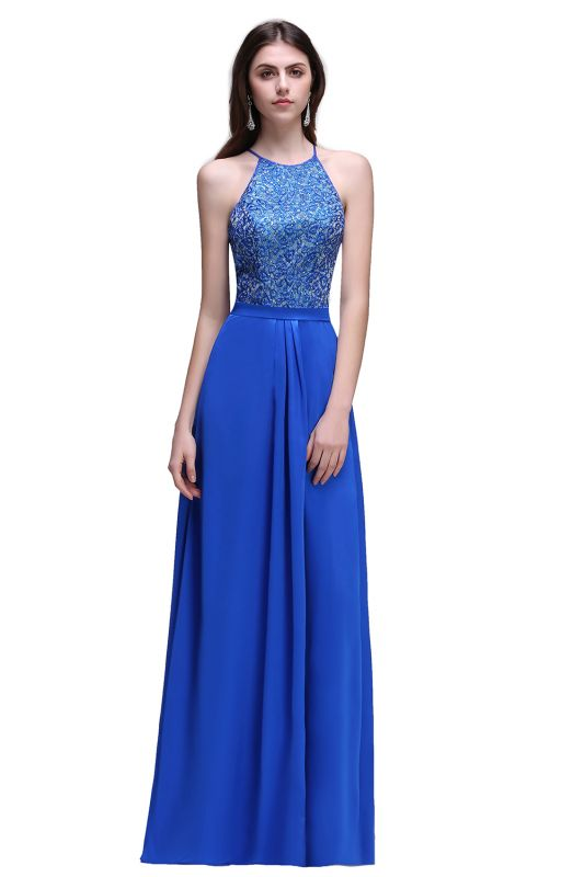 CALLIE | A-line Halter Neck Chiffon Royal Blue Prom Dresses with Sequins