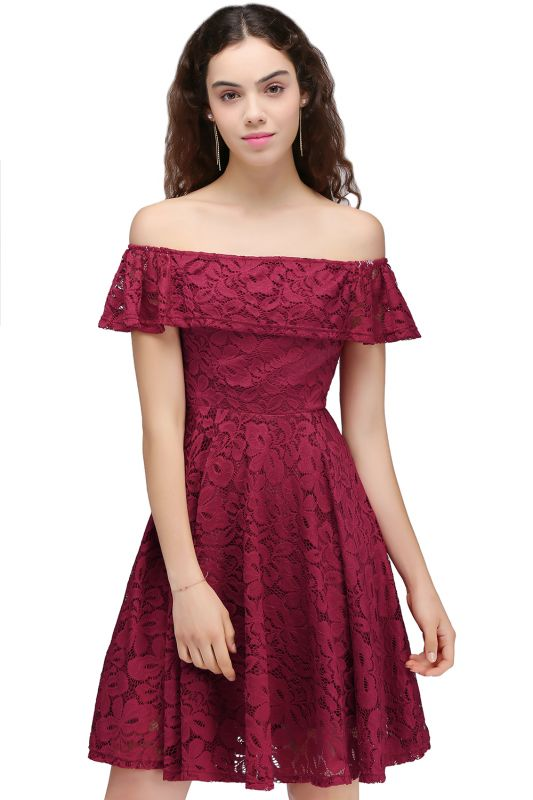 BRIAR | A-Line Off-the-shoulder Lace Burgundy Homecoming Dresses