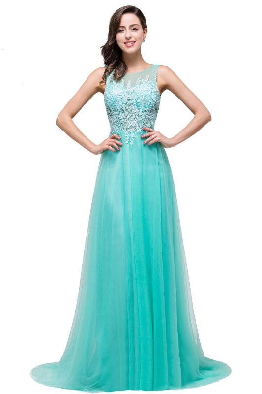 ABRIL | A-line Court Train Tulle Evening Dress with Appliques