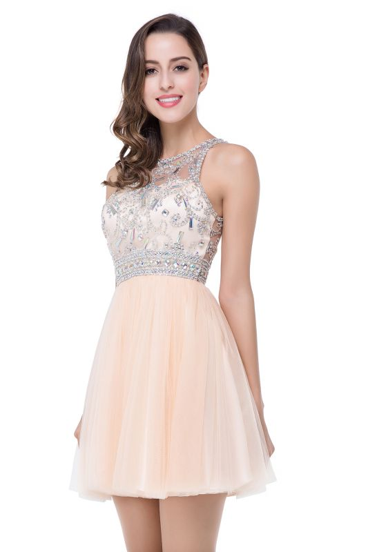 ELISA | A-line Crew Sleeveless Tulle Short Prom Dresses with Beadings