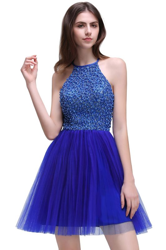CAITLYN | A-line Halter Neck Short Tulle Royal Blue Homecoming Dresses with Beading
