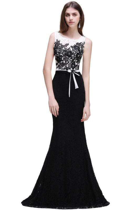 BRYNN | Mermaid Scoop Neckline Lace Black and White Elegant Prom Dresses with Bowknot Sash