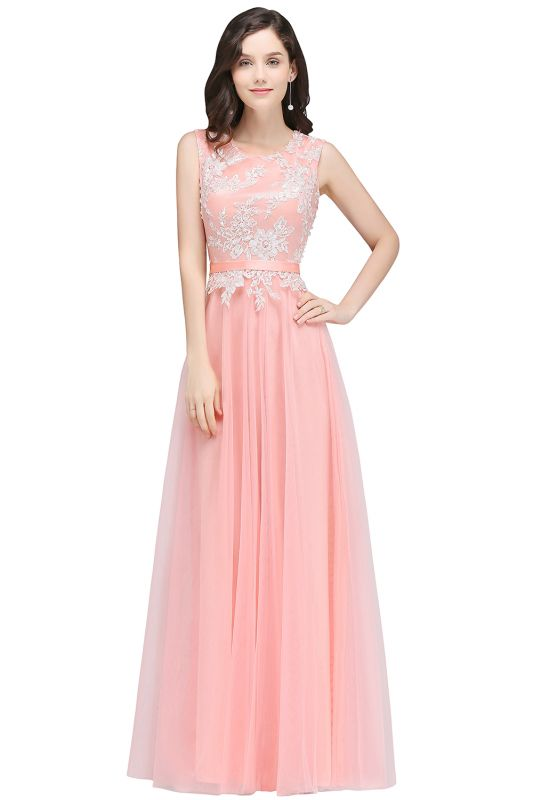 CARLY   A-line Jewel Neck Long Tulle Pink Prom Dresses with Sash