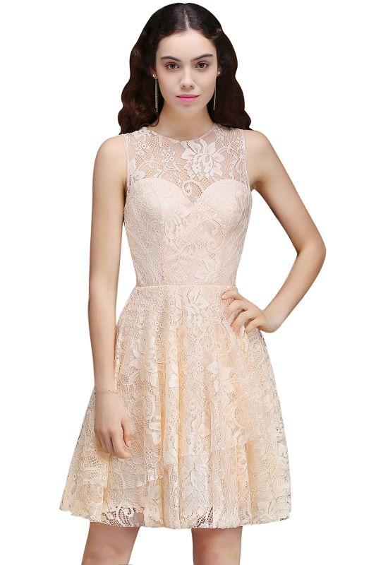 A-line Short Lace Homecoming Dress