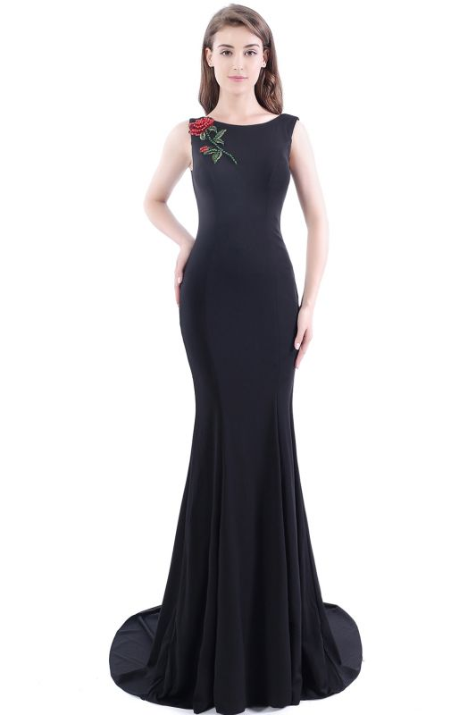DALARY | Mermaid Jewel Court-Train Embroidery Black Prom Dresses with Pearls