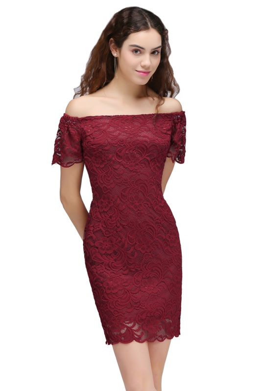 CAMRYN | Sheath Off-the-Shoulder Short Lace Burgundy Homecoming Dresses