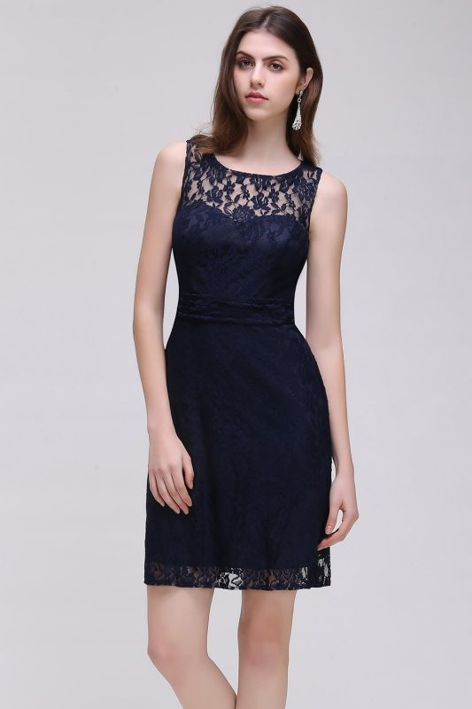 CHARLEIGH |Sheath Sleeveless Navy Blue Lace Short Prom Dresses