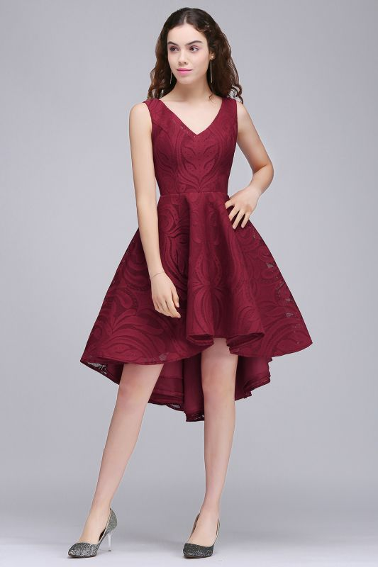 Cheap Burgundy Hi-lo A Line V neck Lace Cocktail Party Dresses