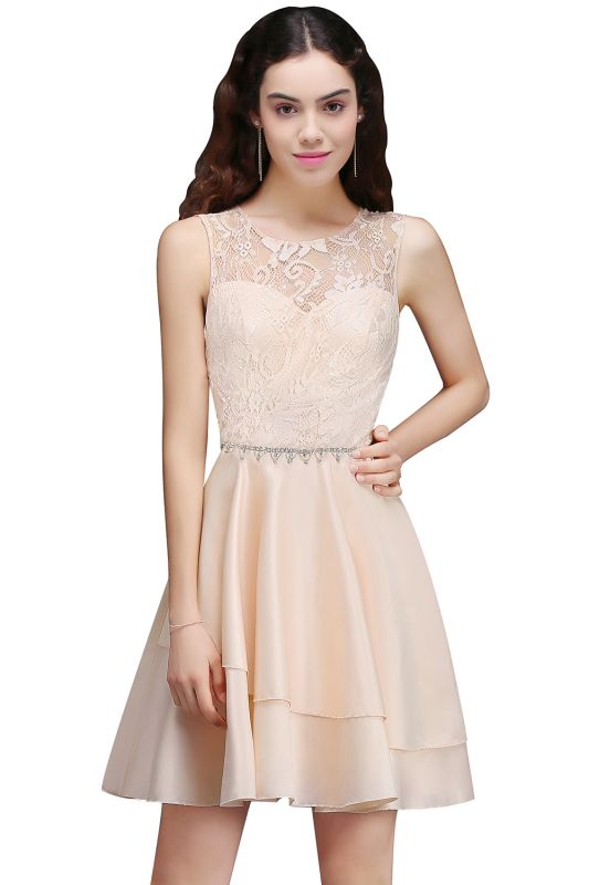 A-line Short Cute Homecoming Dress With Lace