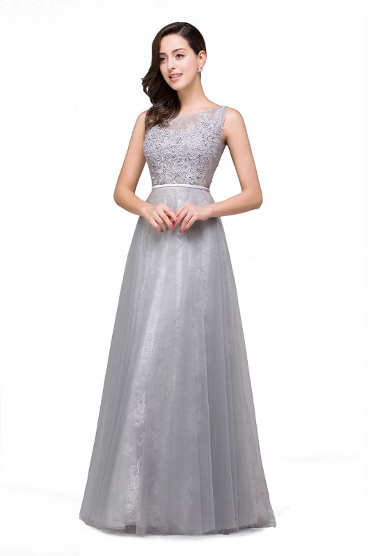A-Line Sleeveless Illusion Floor-Length Tulle Prom Dresses with Embroidered Flowers