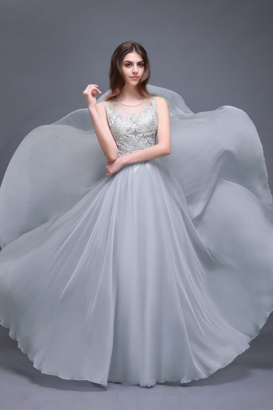 AUBRIELLA | A-line Floor Length Chiffon Prom Dress With Appliques
