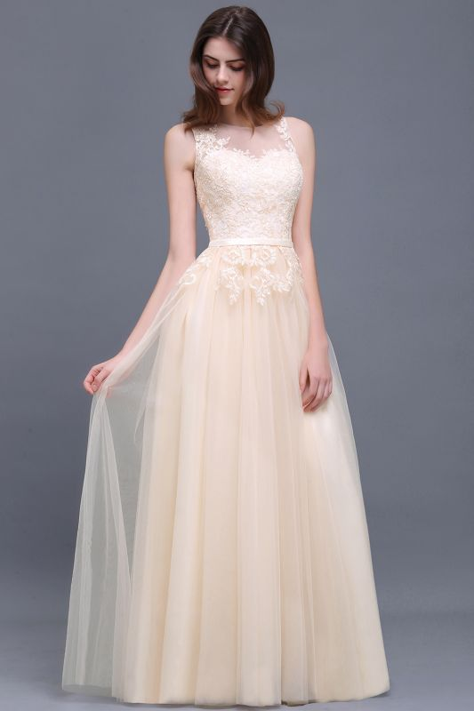 ATHENA   A-line Floor-Length Tulle Prom Dress With Lace