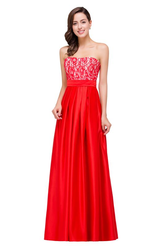 EVERLY   A-line Sleeveless Sweetheart Floor-Length Red Chiffon Prom Dresses