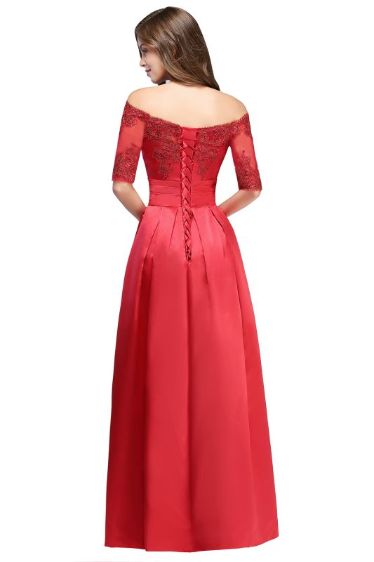 ELLISON | A-line Half Sleeve Floor-length Off-shoulder Appliques Prom Dresses