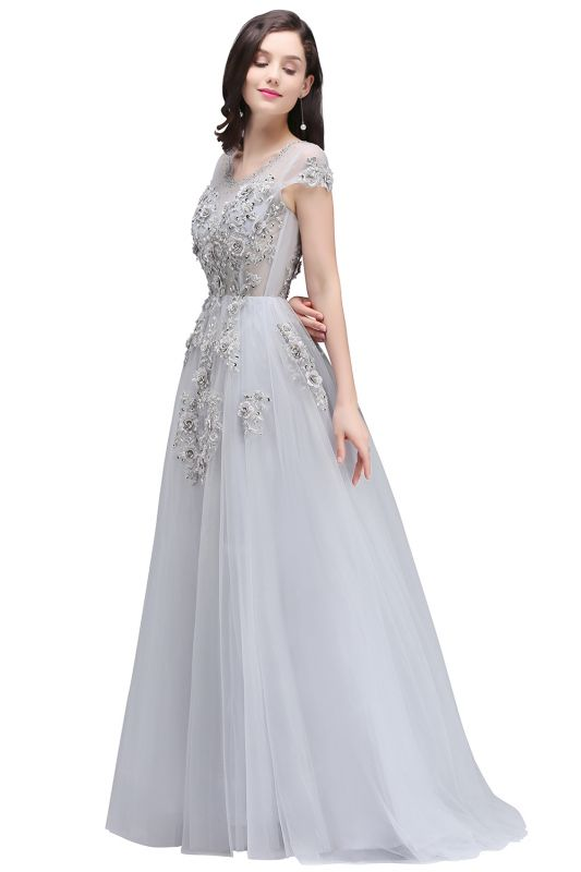 A-line Crew Short Sleeves Floor-length Appliques Tulle Prom Dresses