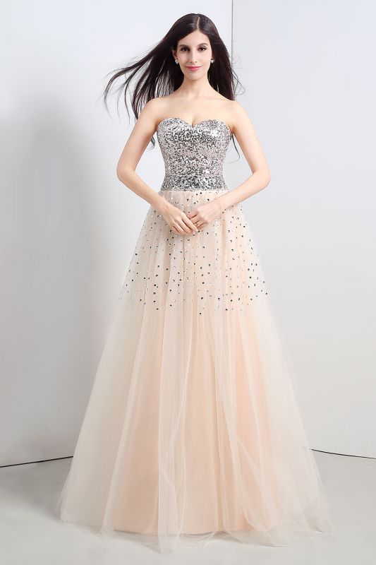 CECELIA | A-line Strapless Tulle Party Dress With  Sequined