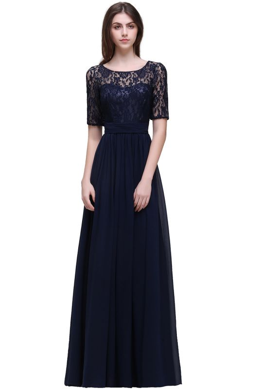 AUBRIELLE | A-line Scoop Chiffon Elegant Prom Dress With Lace