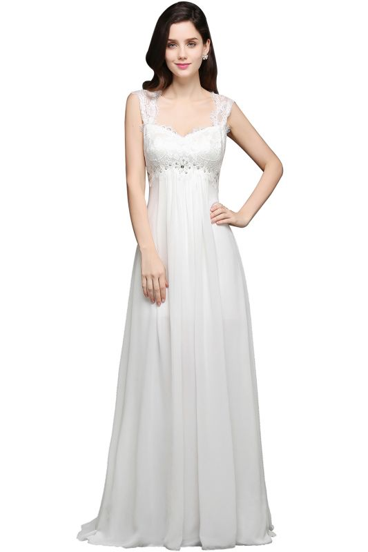 A-line Sweetheart Chiffon White Evening Dress With Lace