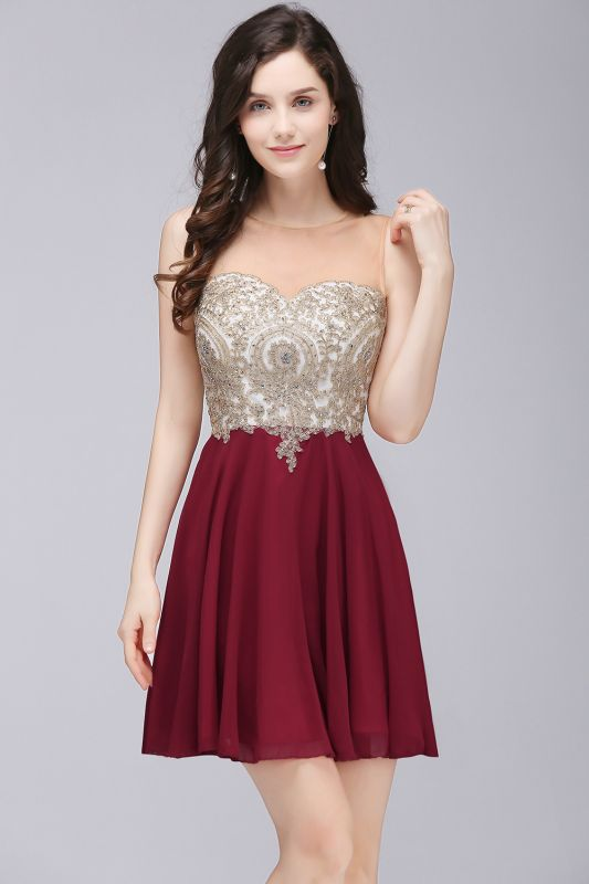 Sheath Jewel Chiffon Short Homecoming Party Dresses With Applique