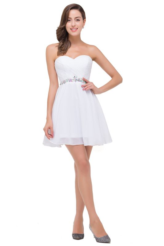 A-line Sweetheart Short Prom Dresses with Beadings