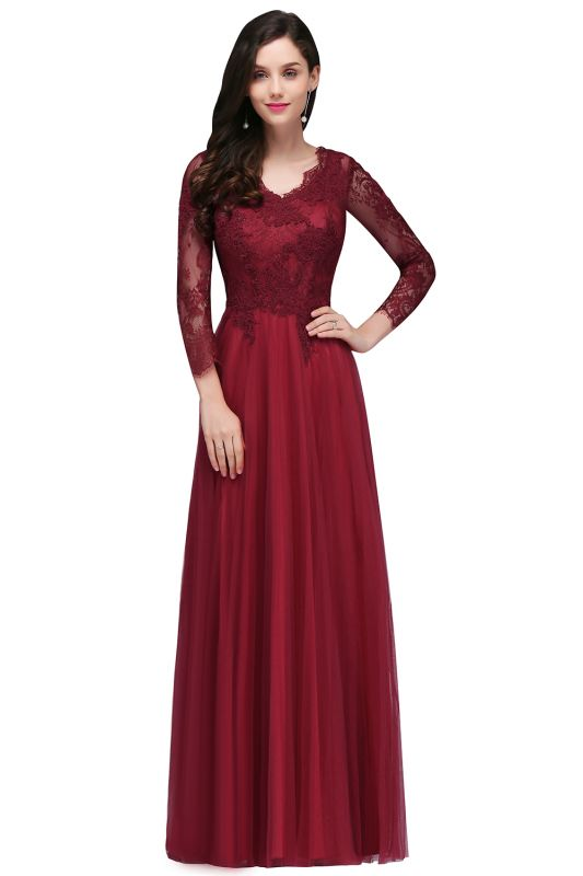 DYLAN | A-line V-neck Long Sleeves Lace Tulle Backless Prom Dresses