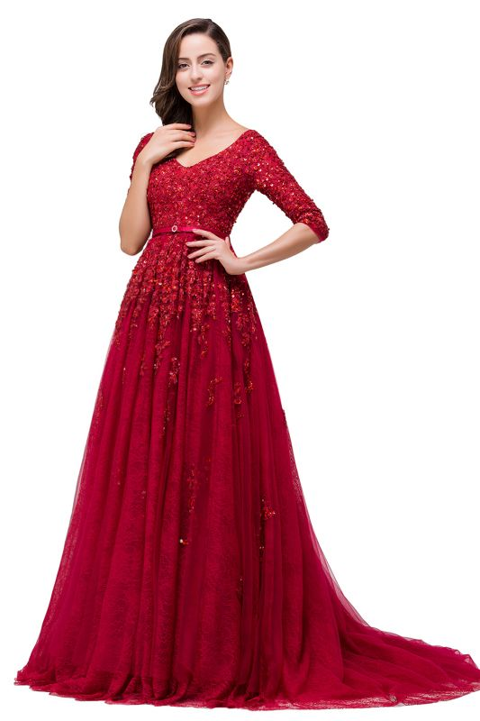A-Line Floor-Length V-neck Half Sleeves Lace Appliques Prom Dresses