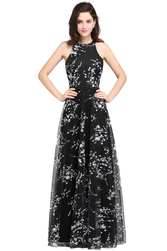 A-line Floor Length Black Evening Dresses with Flowers