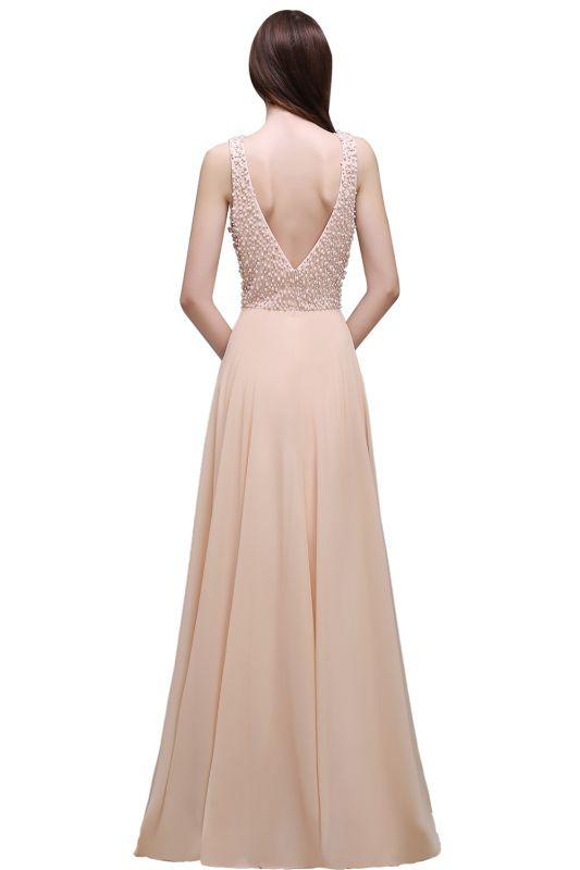 Sheath Sheer Chiffon Long Evening Dresses With Pearls
