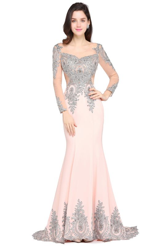 ARELY | Mermaid Sweep Train Pink Elegant Evening Dresses with Appliques