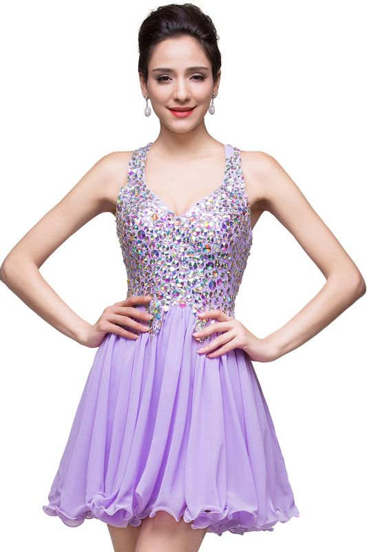 ELIANNA | A-line Sweetheart Short Sleeveless Chiffon Prom Dresses with Crystal Beads