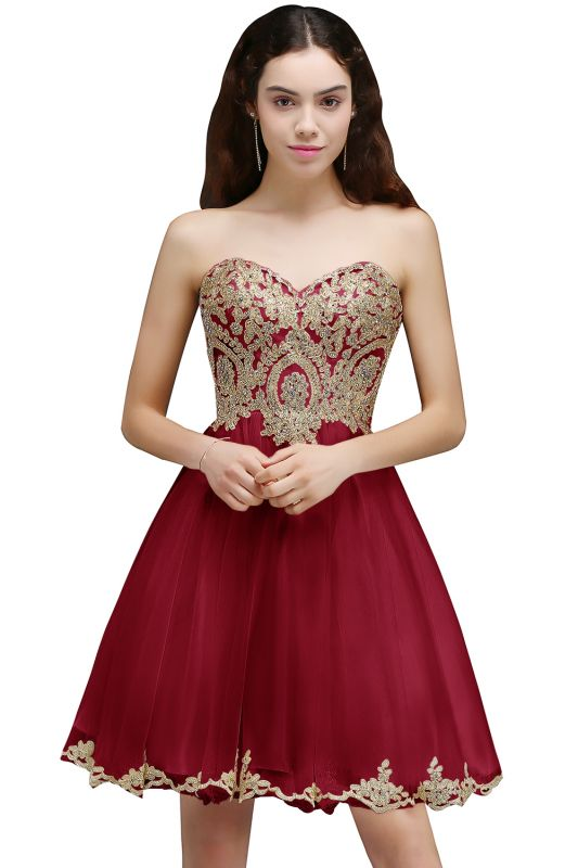 A-line Short Cute Homecoming Dress With Applliques