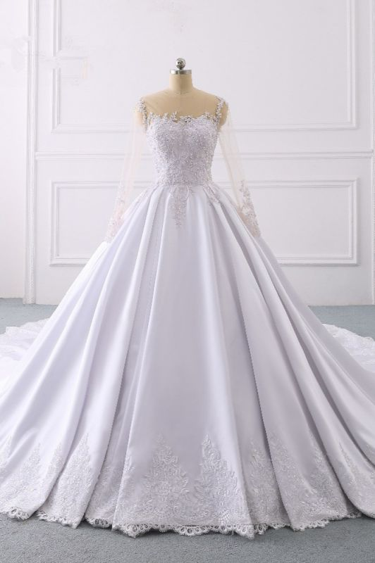 Satin Tulle Long Sleeves Ruffles Lace Bridal Gowns Online