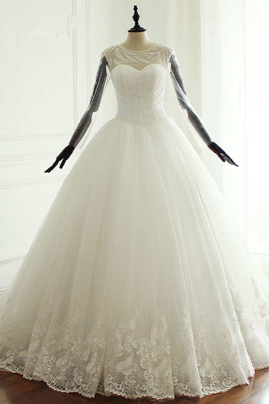 Jewel Long Sleeves Pearls Lace Tulle Wedding Dresses