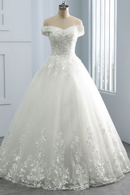 Off-the-Shoulder Tulle Appliques Sleeveless Lace Bridal Gowns