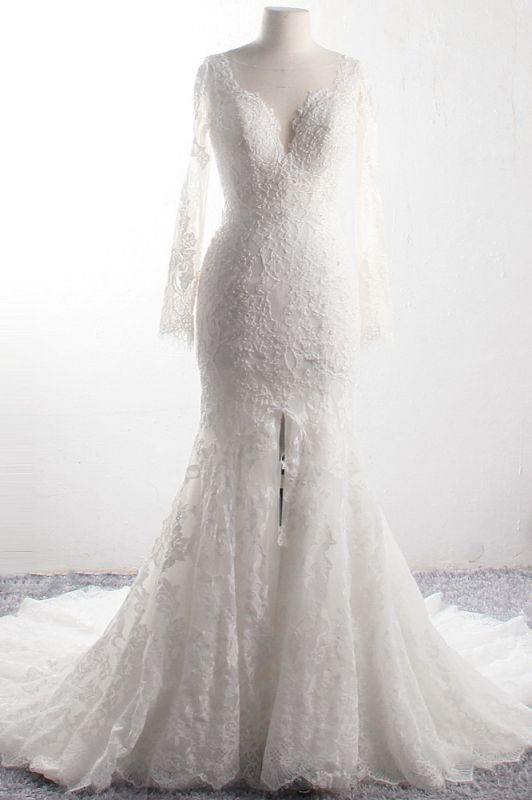 Long Sleeves Mermaid Appliques Tulle Lace Wedding Dresses