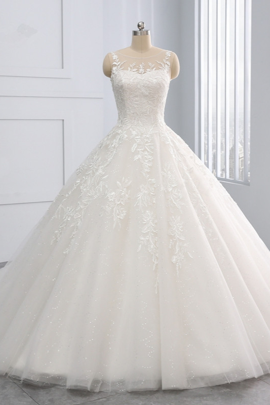 Ball Gown Jewel Tulle Ruffles Sleeveless Lace Wedding Dresses