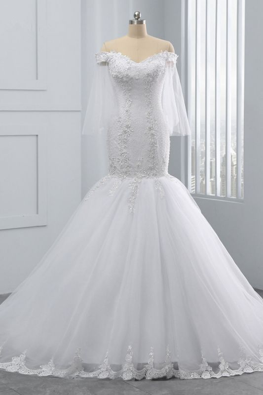 Off-the-Shoulder White Mermaid Lace Sweetheart Tulle Wedding Dresses