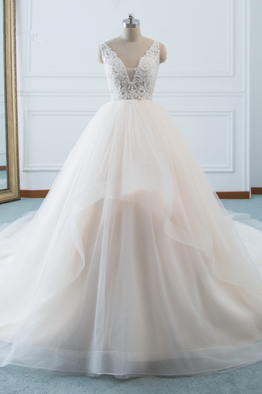 White Sleeveless Lace Top Tulle Wedding Dresses