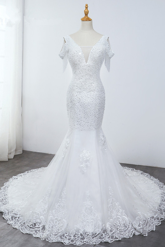 Sequined White Mermaid Lace White Wedding Dresses