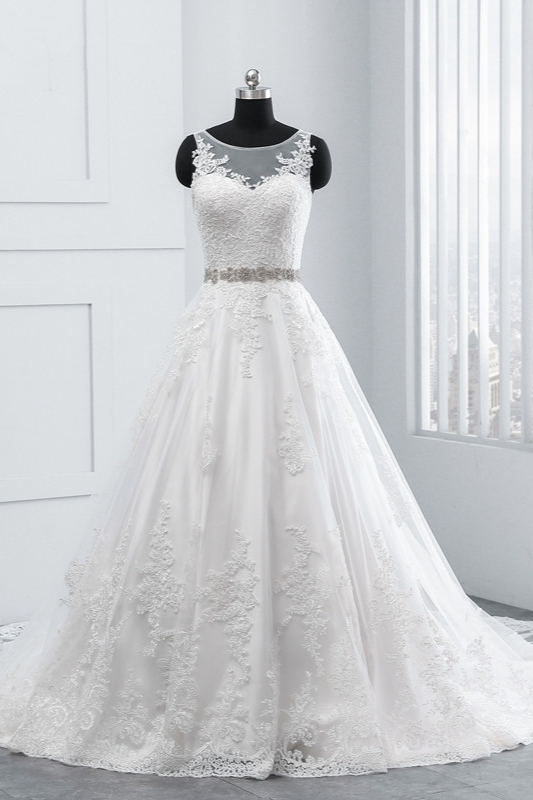 A-Line Appliques Beadings Tulle Lace Wedding Dresses