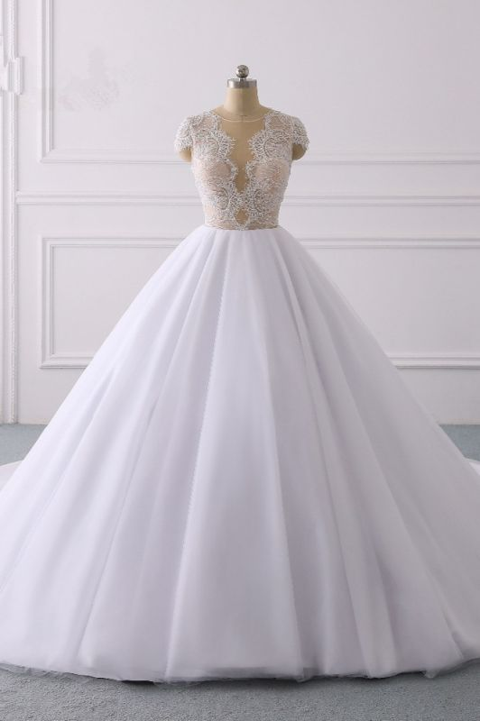 Jewel Tulle Ruffles LaceShort-Sleeves Bridal Gowns