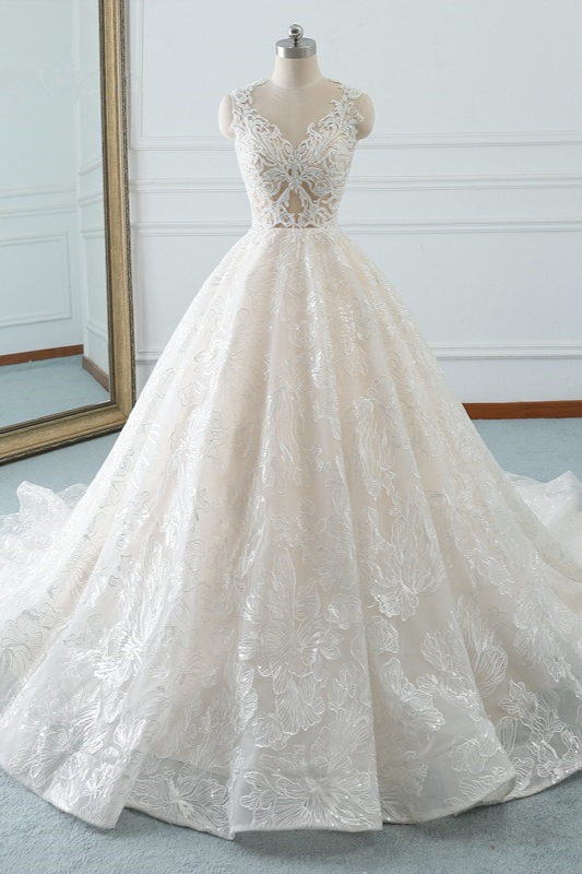 A-Line Jewel White Tulle Lace Bridal Gowns Online