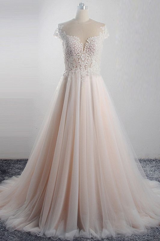 Short Sleeves Jewel Tulle Lace Wedding Dresses