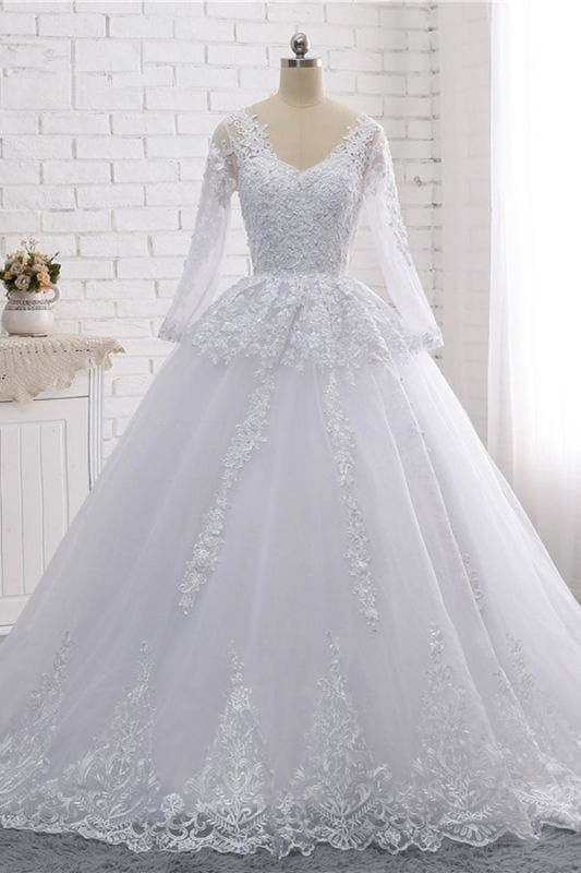 Long Sleeves Tulle Lace Ball Gown V-Neck Sequins Wedding Dress